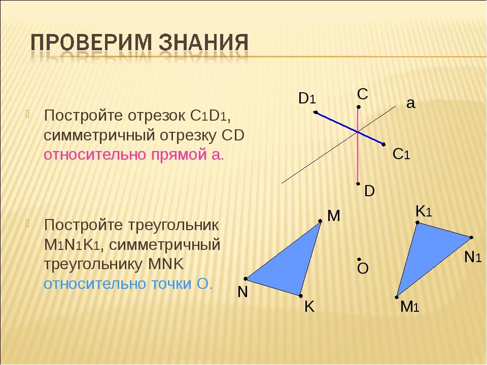 Постройте отрезок С1D1, симметричный отрезку СD относительно прямой а. Постро...