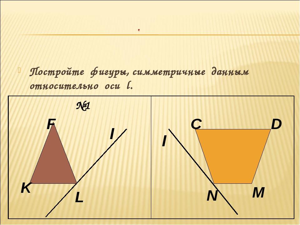 Постройте фигуры, симметричные данным относительно оси l. l F K L l C D N M №1