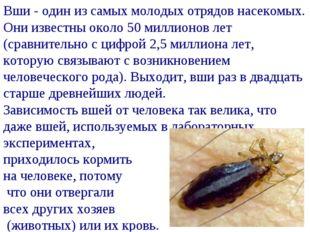 Вши - один из самых молодых отрядов насекомых. Они известны около 50 миллионо
