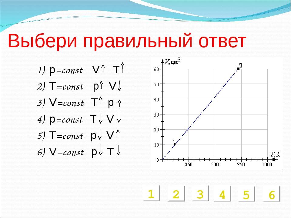 Выбери правильный ответ 1) p=const V T 2) T=const p V 3) V=const T p 4) p=con...