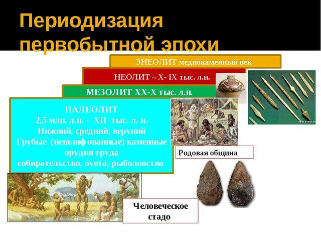 Периодизация первобытной эпохи ПАЛЕОЛИТ 2,5 млн. л.н. - XII тыс. л. н. Нижний...