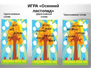 ИГРА «Осенний листопад» Односложные слова Двухсложные слова Трехсложные слова