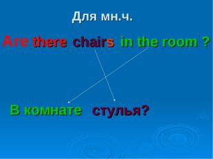 Для мн.ч. there chairs in the room ? В комнате стулья? Are