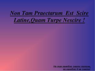 Non Tam Praectarum Est Scire Latine,Quam Turpe Nescire ! Не так ганебно знати