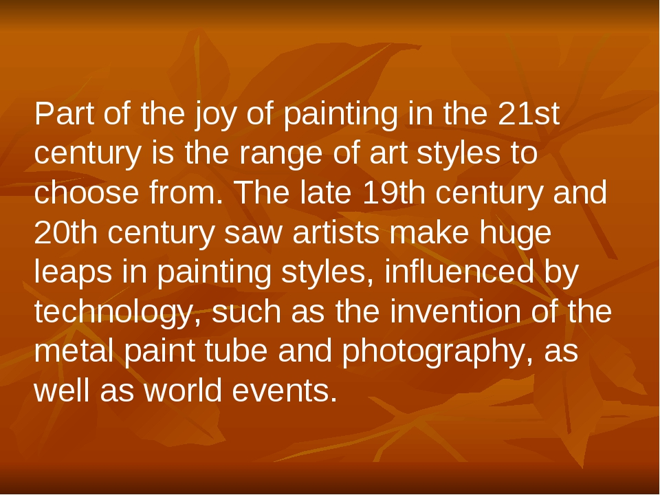 Part of the joy of painting in the 21st century is the range of art styles to...