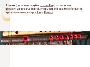 Нокан (дословно «трубка театра Но») — японская поперечная флейта, использующ