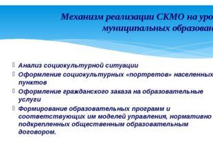 Механизм реализации СКМО на уровне муниципальных образований Анализ социокуль