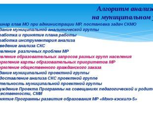 Семинар глав МО при администрации МР, постановка задач СКМО Создание муниципа