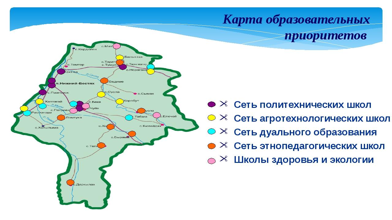 Карта образовательных приоритетов Сеть политехнических школ Сеть агротехнолог...