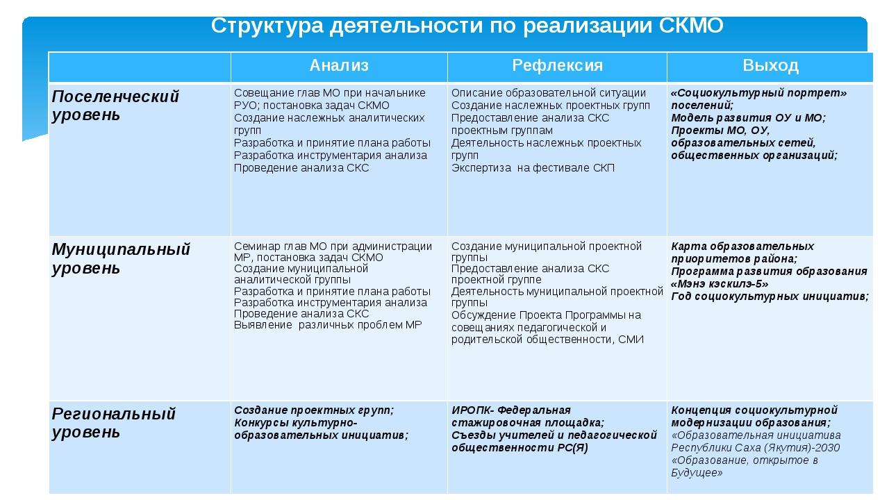 Структура деятельности по реализации СКМО АнализРефлексияВыход Поселенческ...
