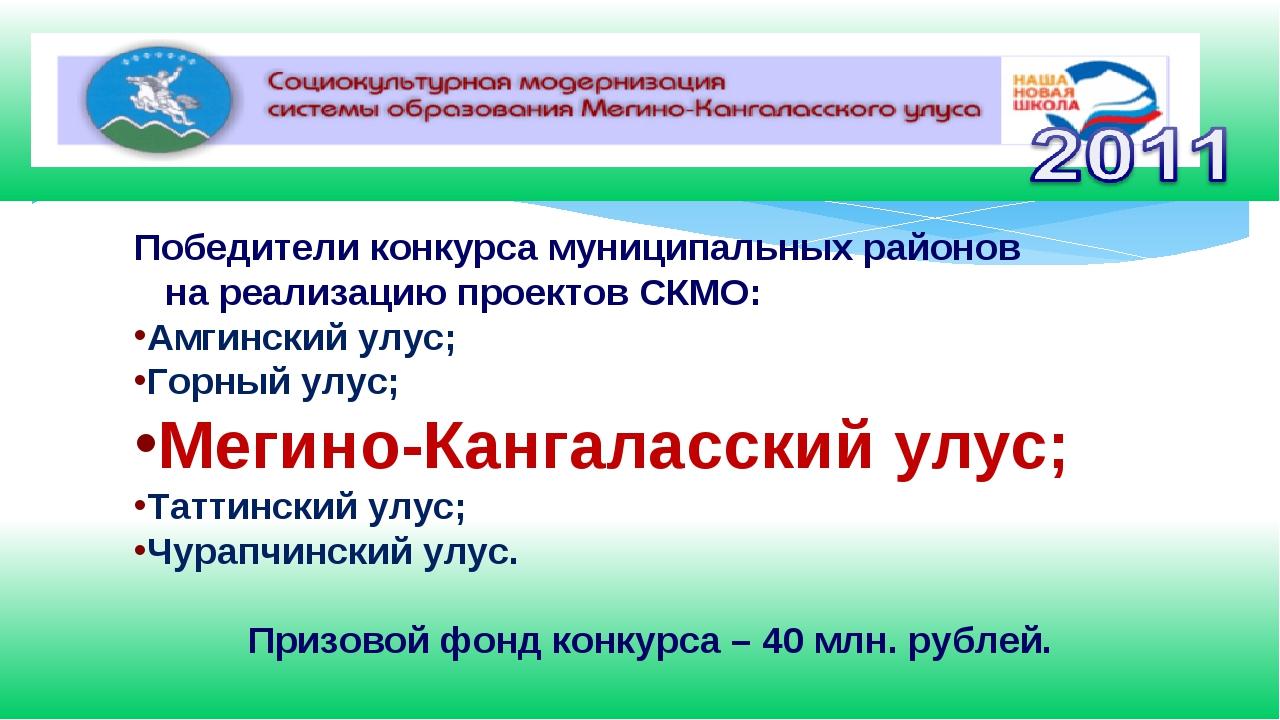 Победители конкурса муниципальных районов на реализацию проектов СКМО: Амгинс...