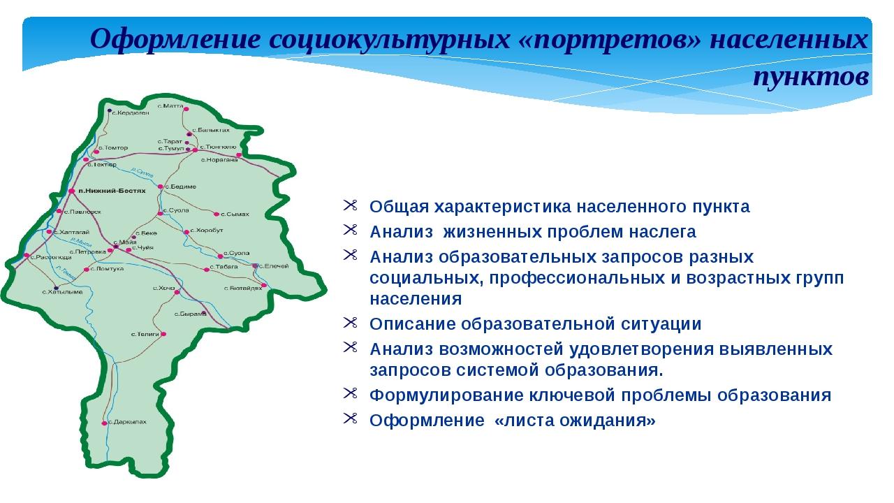 Оформление социокультурных «портретов» населенных пунктов Общая характеристик...