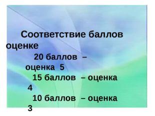 Соответствие баллов оценке 20 баллов – оценка 5 15 баллов – оценка 4 10 балл