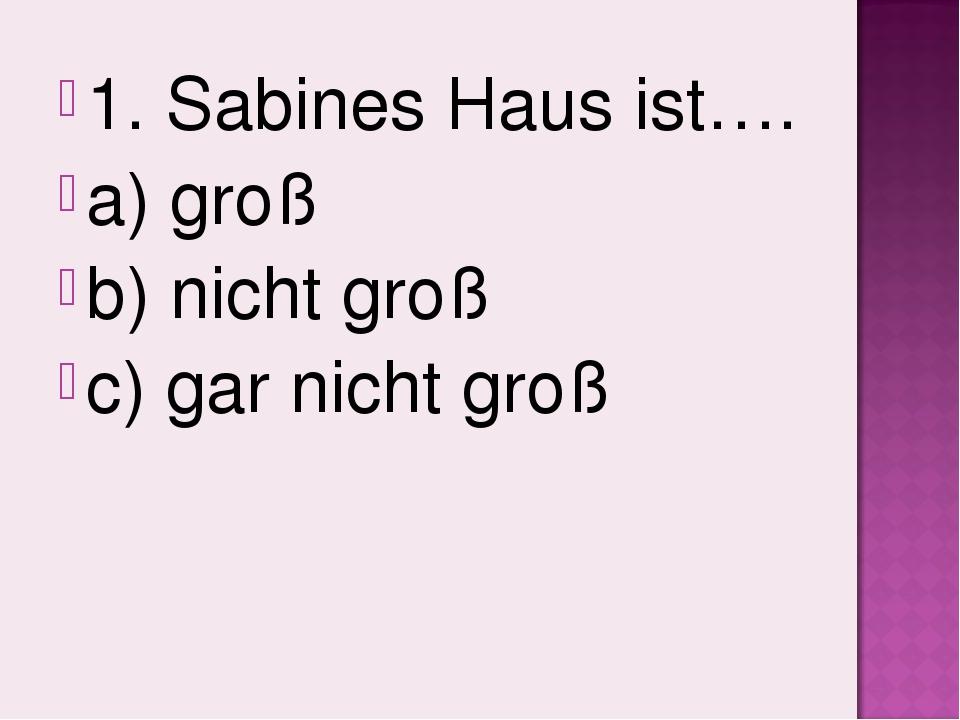 1. Sabines Haus ist…. a) groß b) nicht groß c) gar nicht groß