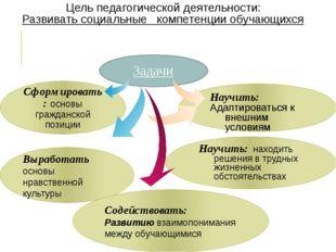 Цель педагогической деятельности: Развивать социальные компетенции обучающих