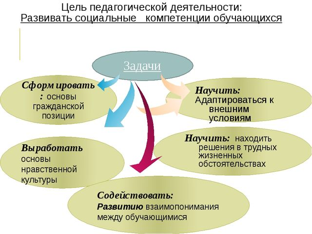 Цель педагогической деятельности: Развивать социальные компетенции обучающих...