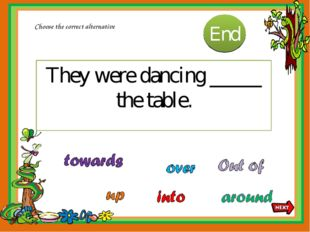 They were dancing _____ the table. Choose the correct alternative 10 9 8 7 6