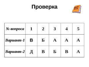 Проверка № вопроса 1 2 3 4 5 Вариант-1 В Б А А А Вариант-2 Д В Б В А