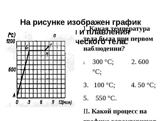 На рисунке изображен график нагревания и плавления кристаллического тела. I....