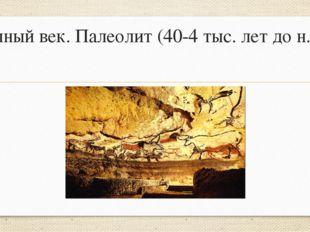 Каменный век. Палеолит (40-4 тыс. лет до н.э.)