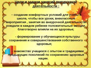 Цели и задачи занятий внеурочной деятельности : - создание комфортных условий