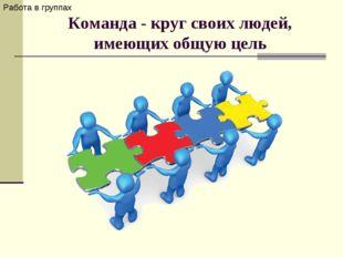 Команда- круг своих людей, имеющих общую цель Работа в группах