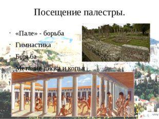 Посещение палестры. «Пале» - борьба Гимнастика Борьба Метание диска и копья П