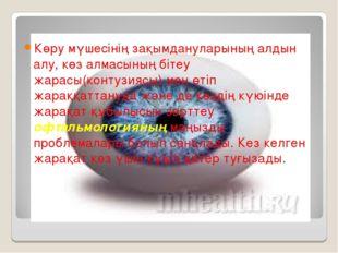 Көру мүшесінің зақымдануларының алдын алу, көз алмасының бітеу жарасы(контузи