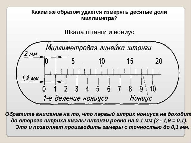 Каким же образом удается измерять десятые доли миллиметра? Шкала штанги и нон...