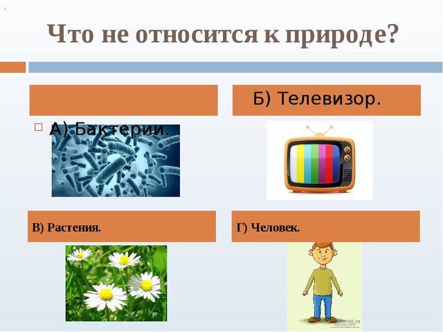 Что не относится к природе? Б) Телевизор. . В) Растения. А) Бактерии. Г) Чело...