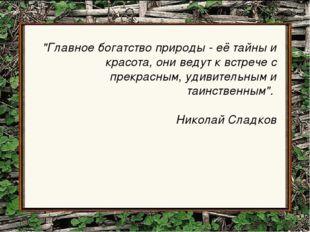 """""""Главное богатство природы - её тайны и красота, они ведут к встрече с прекра"""