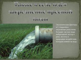 Экологические факторы в С.Андреевка загрезнение реки очень большие так как лю