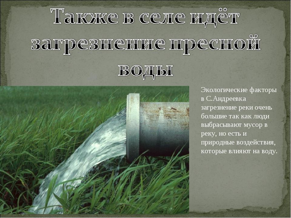 Экологические факторы в С.Андреевка загрезнение реки очень большие так как лю...