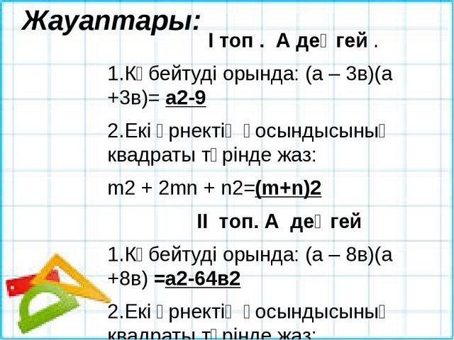 Жауаптары:  І топ . А деңгей . 1.Көбейтуді орында: (а – 3в)(а +3в)= а2-9...