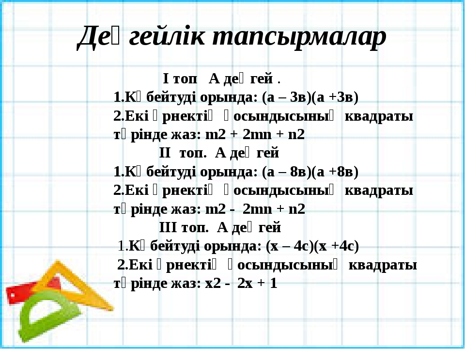 Деңгейлік тапсырмалар  І топ А деңгей . 1.Көбейтуді орында: (а – 3в)(а +3в)...