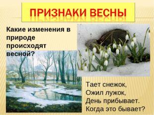Какие изменения в природе происходят весной? Тает снежок, Ожил лужок, День пр