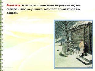 Мальчик: в пальто с меховым воротником; на голове - шапка-ушанка; мечтает пок
