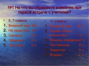 №1 На что вы обращаете внимание при первой встрече с учителем? 5, 7 классы Вн