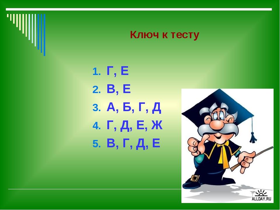 Ключ к тесту Г, Е В, Е А, Б, Г, Д Г, Д, Е, Ж В, Г, Д, Е