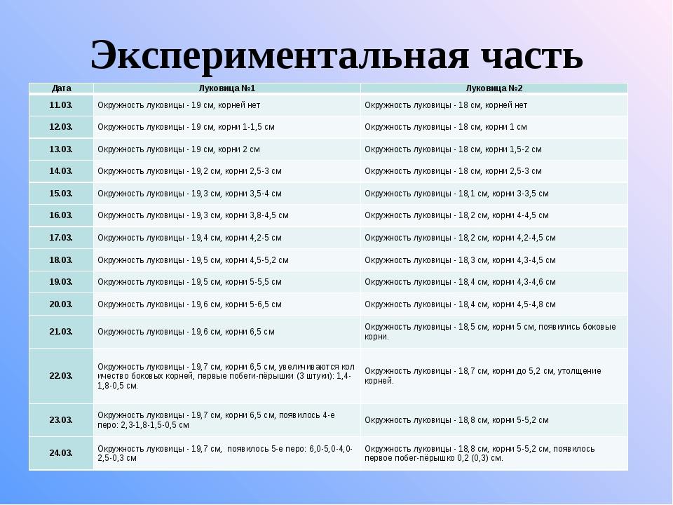 Экспериментальная часть ДатаЛуковица №1Луковица №2 11.03.Окружность лукови...