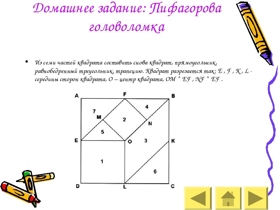 Домашнее задание: Пифагорова головоломка Из семи частей квадрата составить сн...