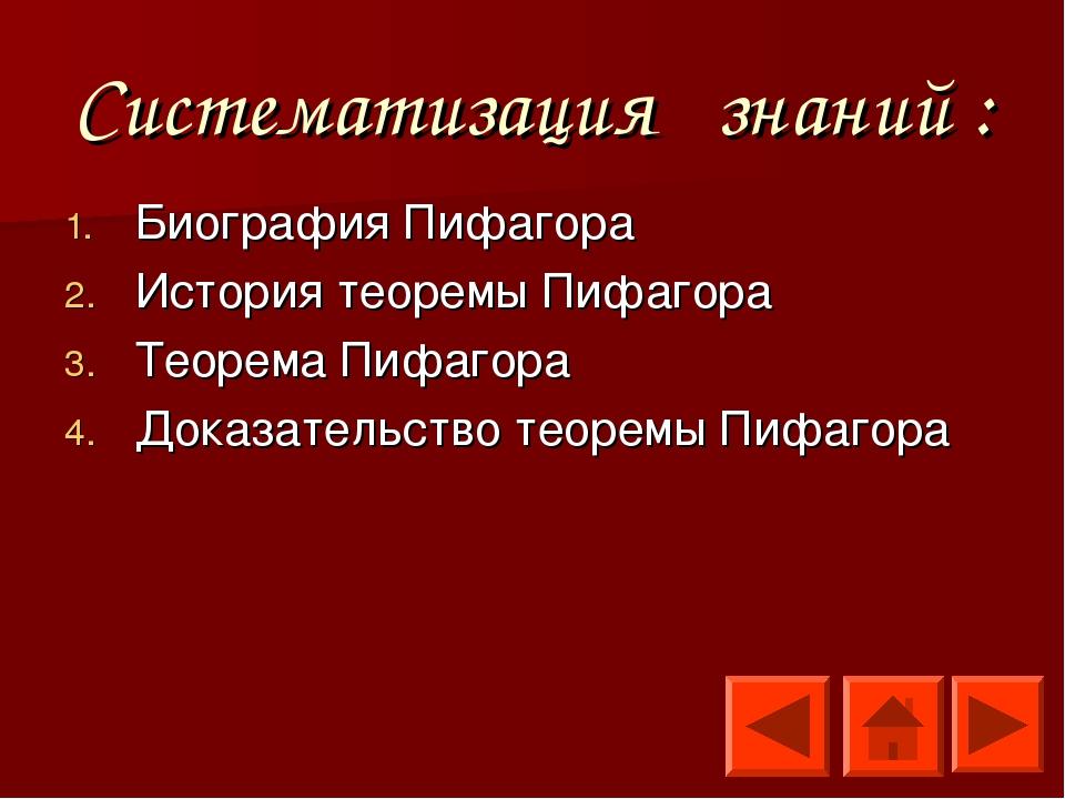 Систематизация знаний : Биография Пифагора История теоремы Пифагора Теорема П...