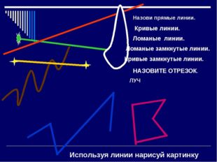 Назови прямые линии. Кривые линии. Ломаные линии. Ломаные замкнутые линии. Кр