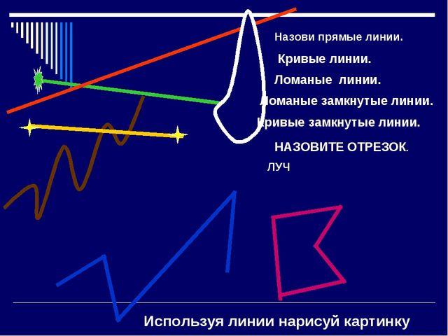 Назови прямые линии. Кривые линии. Ломаные линии. Ломаные замкнутые линии. Кр...