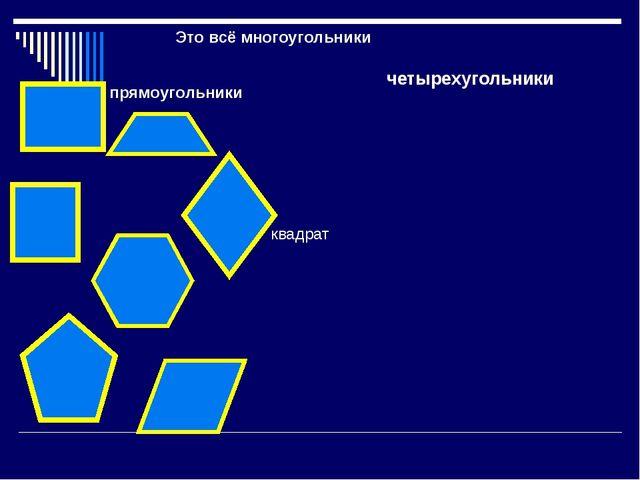 Это всё многоугольники четырехугольники прямоугольники квадрат