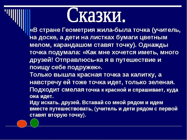 «В стране Геометрия жила-была точка (учитель, на доске, а дети на листках бум...
