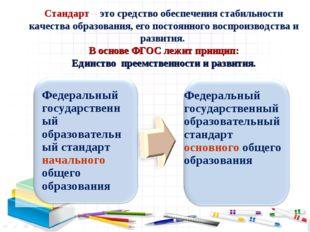 Стандарт – это средство обеспечения стабильности качества образования, его по