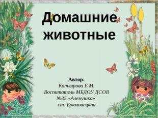 Домашние животные Автор: Котлярова Е.М. Воспитатель МБДОУ ДСОВ №35 «Аленушка»