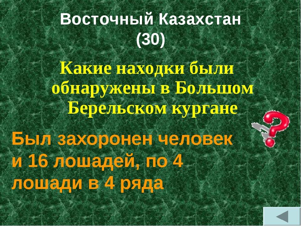 Восточный Казахстан (30) Какие находки были обнаружены в Большом Берельском к...