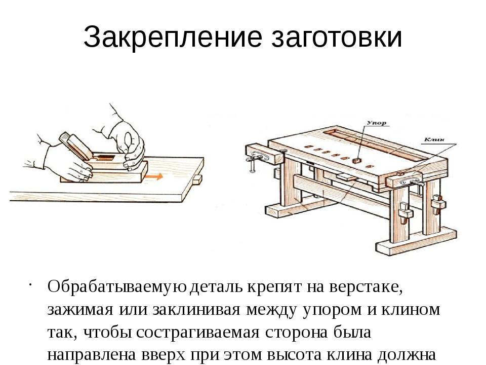Закрепление заготовки Обрабатываемую деталь крепят на верстаке, зажимая или з...